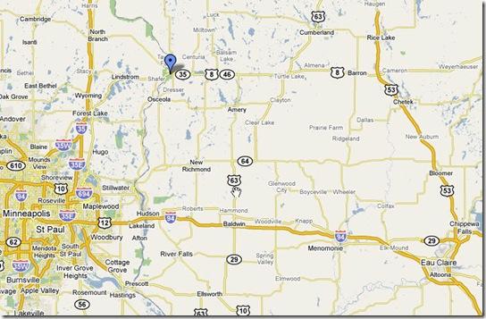 Taylors Falls is the blue dot