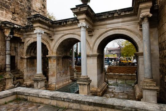 Hadrianus Gate, the gateway to Kaleici, Antalya, Turkey