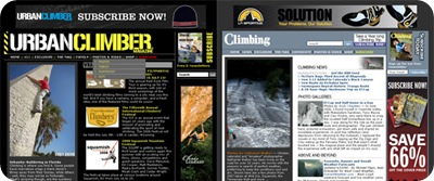 The redesigned UCMag at left with Climbing's existing site at right...eerily similar