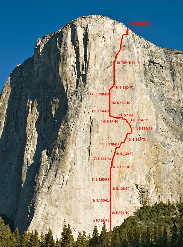 Dawn Wall Project topo – Team Free highpiont was Pitch 11