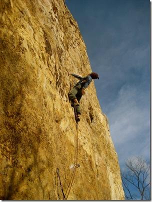 Peter Bonamici climbing Blank Man (5.13b) at Red Wing, MN