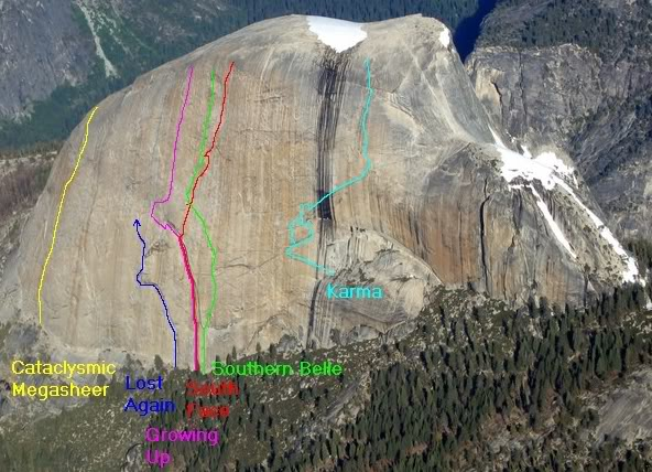 Topo showing (roughly) the line of Southern Belle on Half Dome's south face