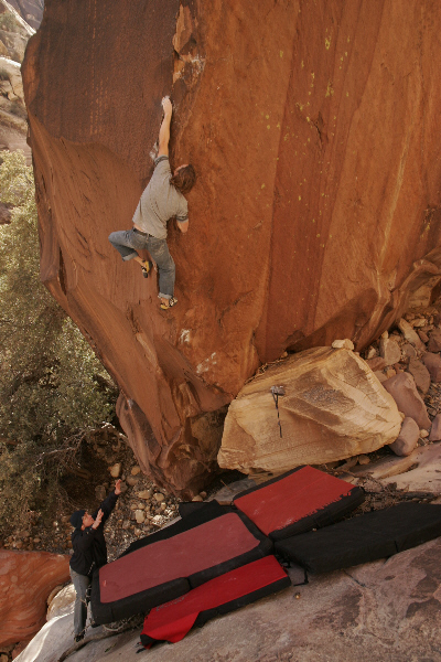 Pete Lowe on The Shining Path (V13) in Red Rocks